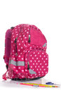 Nice decorative backpack or bookbag with school supplies isolate Royalty Free Stock Photo