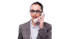 The nice elegant call center operator  on white Royalty Free Stock Photo