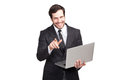 Nice elegant man smiling to camera with a laptop in his hand isolated Royalty Free Stock Photos