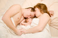 Nice family sleeping together Royalty Free Stock Images