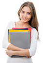 Nice female student smiling and looking at camera Stock Image