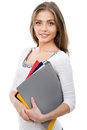 Nice female student smiling and looking at camera Stock Photos