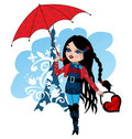 Nice French girl with umbrella Stock Photo