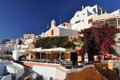 Nice garden in Oia, Santorini, Greece Stock Photo