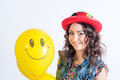 Nice girl with balloon funny smiling yellow Stock Image