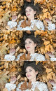 Nice girl covered with autumnal leaves young woman laying down on the ground covered by fall foliage in park beautiful sexy girl Royalty Free Stock Photo