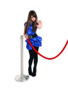 Nice girl on entrance stop someone with hand near red rope barrier stops gesture sign Stock Photos