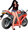 Nice girl and motorbike Royalty Free Stock Photo