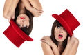 Nice girl with top hat red double Royalty Free Stock Photos