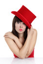 Nice girl with top hat red on white background Stock Photo