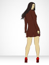 Nice girl in transparent coat backward view illustration Stock Photo