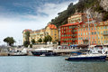 Nice harbour and port france april colorful buildings boats within a de on april in france de was started in Royalty Free Stock Photography