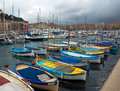 Nice harbour and port france april colorful buildings boats within a de on april in france de was started in Royalty Free Stock Images