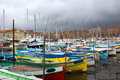 Nice harbour and port old classic wooden boats in the old france Stock Photography