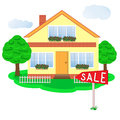 Nice house for sale on white background Stock Photos