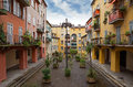 Nice houses in the old town district of city of france Royalty Free Stock Images