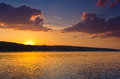 Nice landscape with sunset on lake. Royalty Free Stock Photo