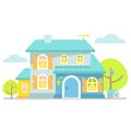 Nice little blue cottage. Royalty Free Stock Photo