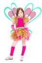Nice little girl dressed in pink butterfly suit isolated on white Stock Photos