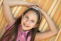 Nice little girl in relaxing colorfull picture Royalty Free Stock Photo
