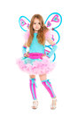Nice little girl wearing luxury butterfly costume isolated on white Stock Images