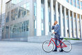 Nice man holding bicycle Royalty Free Stock Photo