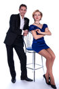Nice man and woman in a black and blue dress Stock Photography
