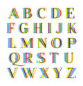 Nice modern colorful alphabet set letters pack with popular stereo effect Stock Images