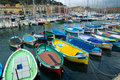 Nice old classic wooden boats in the port france Stock Image