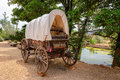 Nice old covered wagon in Arizona and lake in background