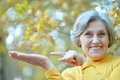 Nice old woman at autumn nature Royalty Free Stock Photos