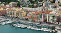Nice port of nice cote d azur france may aerial view the harbor in villefranche sur mer and the city architecture on may in was Stock Photo
