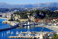 Nice port waters c te d azur top view of the sea and marinas of on a clear sunny day on a background of the city s waterfront and Royalty Free Stock Photo