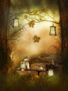 A nice rabbit in the fairytale wood fantasy artwork Royalty Free Stock Images