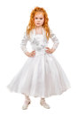 Nice redhead little girl wearing white dress isolated Stock Image
