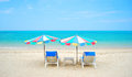 The nice sea and the chair on the beach Royalty Free Stock Photo
