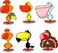 Nice set of of birds, including a rooster,vector Royalty Free Stock Photo