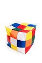 Nice and soft beanbag chair in shape of cube for your living room isolated on white background Royalty Free Stock Photos