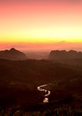 Nice sunrise in morning on the mountain,Chiang Rai, Thailand Royalty Free Stock Photo