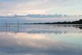 Nice sunset on lake, southern of Thailand Royalty Free Stock Photo