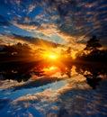 Nice sunset over lake Royalty Free Stock Photo