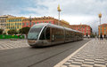 Nice tram in city france april modern the center of france on april central square place massena new landmark of the town it was Stock Photo