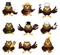 Nice vector cartoon set of owls in different variations Stock Images