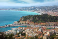 Nice view from fort du mont alban of mediterranean resort cote d azur france Stock Image