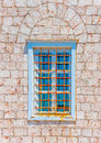 Nice window a beautiful of the museum of hydra island in greece Stock Photo