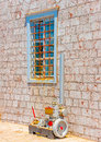Nice window a beautiful of the museum of hydra island in greece Royalty Free Stock Photography