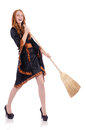 Nice witch with broom on white Royalty Free Stock Image