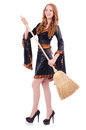 Nice witch with broom on white Stock Image