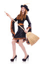Nice witch with broom on white Royalty Free Stock Images
