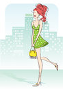Nice woman green little dress yellow bag city Royalty Free Stock Photo